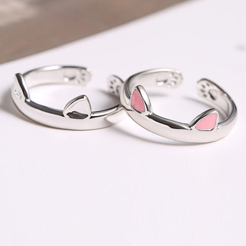 Cute Pink Cat Ear Adjustable Ring