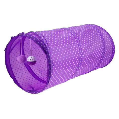 Funny Pet Cat Tunnel 2 Holes Cat Play Tubes Balls