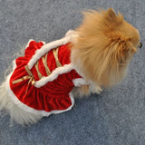 Red Christmas Dog Clothes Santa Doggy Costumes