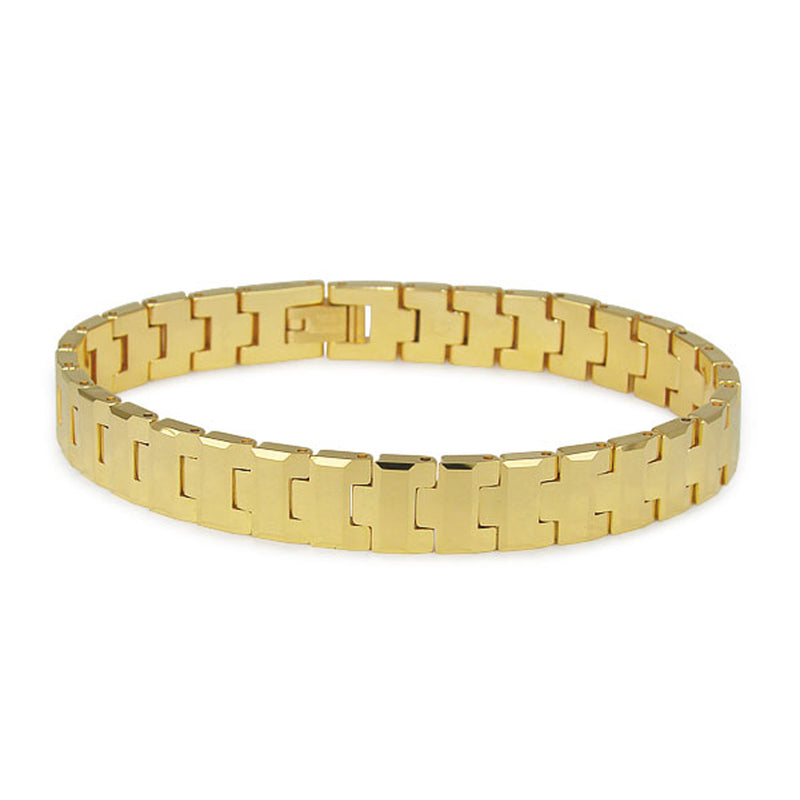 Classic High Polish Gold Tungsten Carbide Link Bracelet - Tioneer