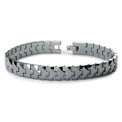 Classic High Polish Tungsten Carbide Faceted Link Bracelet - Tioneer