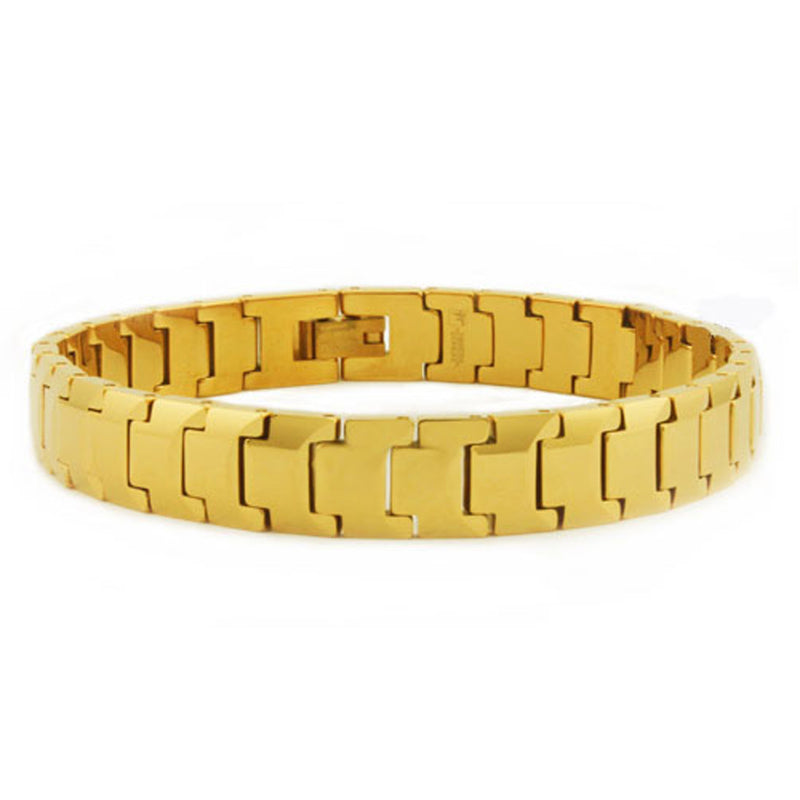 Gold Black Tungsten Carbide Classic Minimalist High Polish Link Bracelet - Tioneer