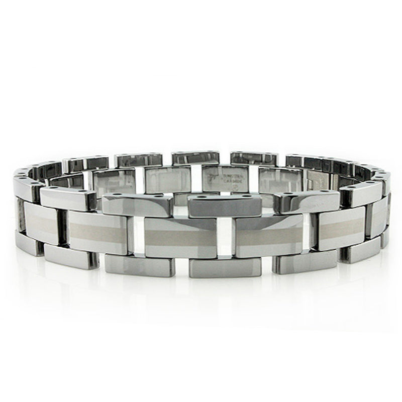 Tungsten Carbide Two-Tone Center Strip Link Bracelet - Tioneer