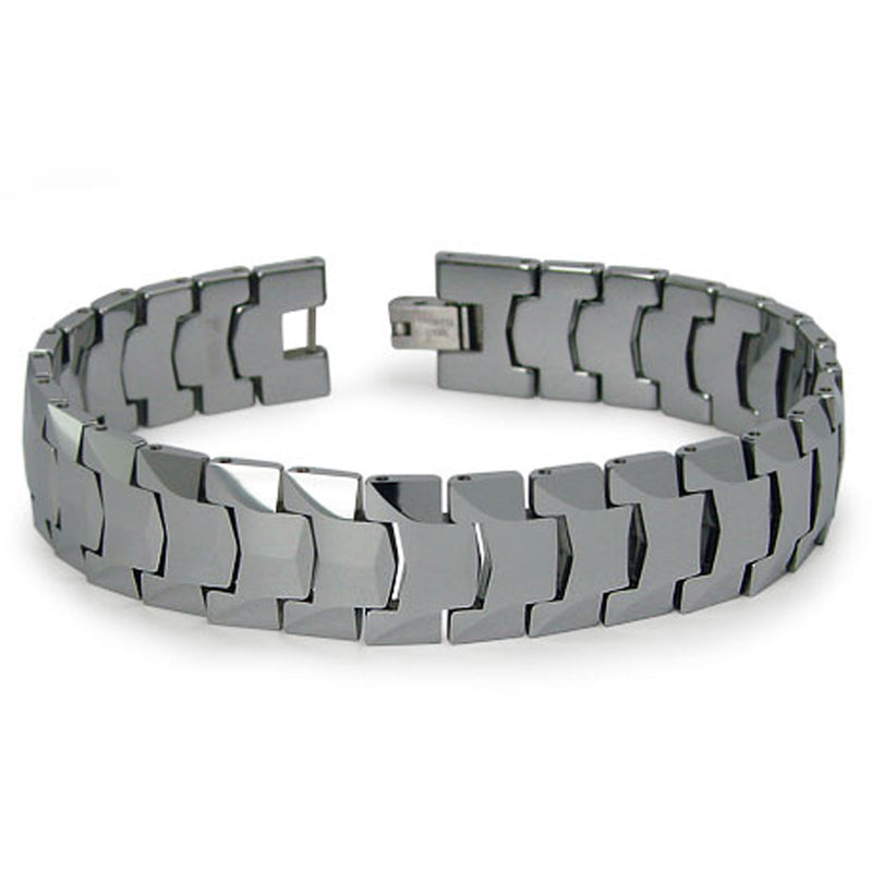 Classic Tungsten Carbide Heavy Weight Faceted Link Bracelet - Tioneer