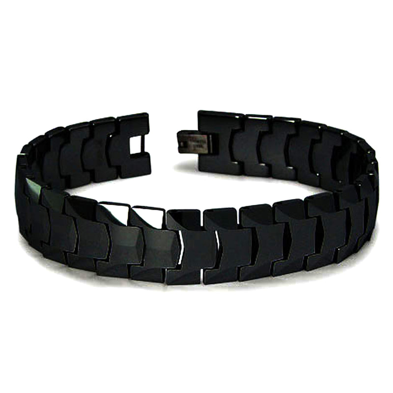 Classic Black Tungsten Carbide Heavy Weight Faceted Link Bracelet - Tioneer
