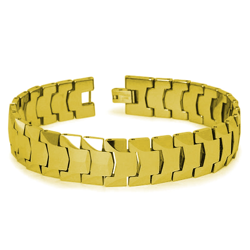 Classic Gold Tungsten Carbide Heavy Weight Faceted Link Bracelet - Tioneer