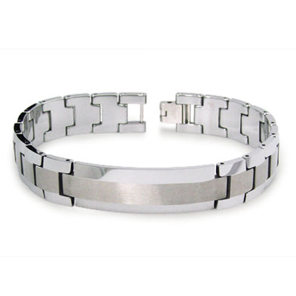 Two-Tone Tungsten Carbide Satin Center Strip ID Link Bracelet - Tioneer