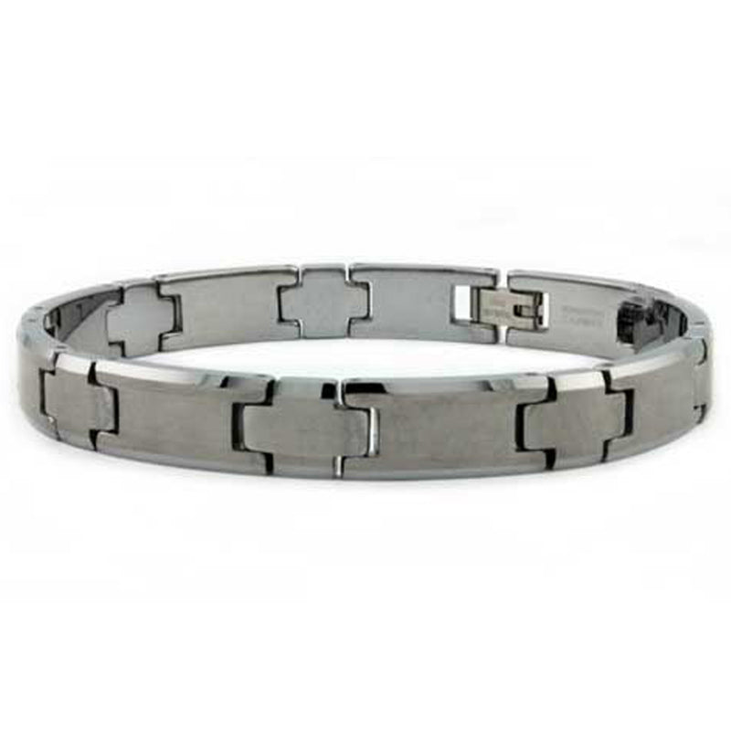 Tungsten Carbide Apollo Style Satin Center Link Bracelet - Tioneer