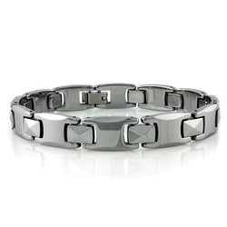 Tungsten Carbide Multi-Faceted Link Bracelet - Tioneer