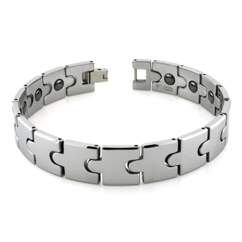 Tungsten Carbide Puzzle Pattern Magnetic Insert Link Bracelet - Tioneer