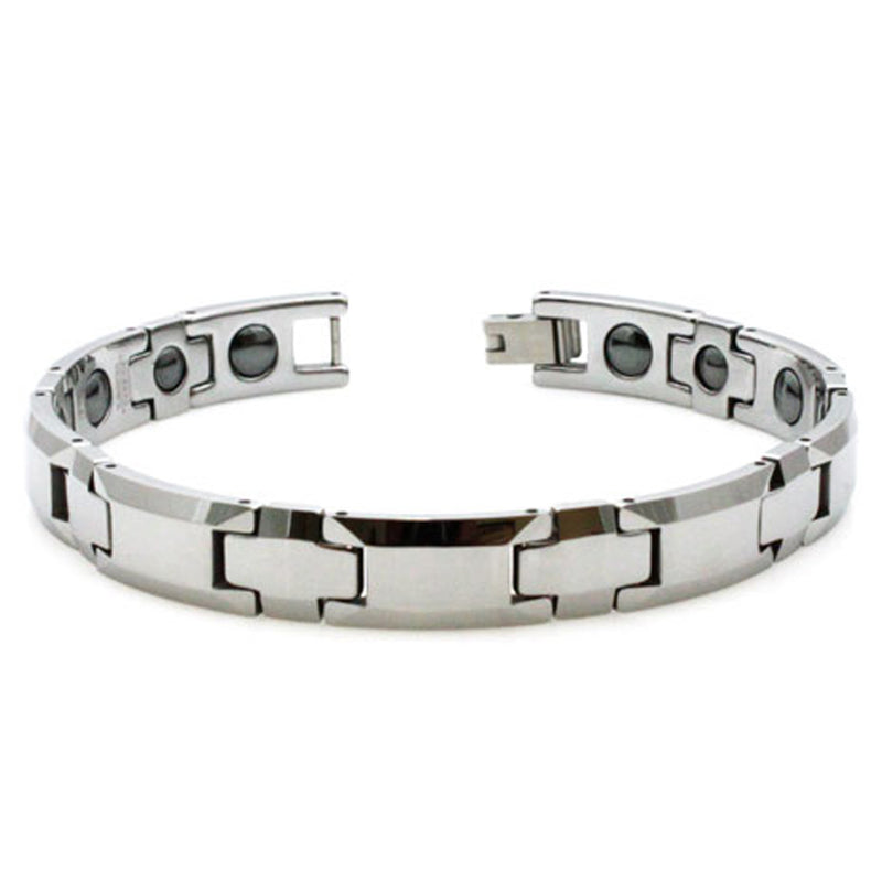 Tungsten Carbide Beveled Edge Magnetic Insert Link Bracelet - Tioneer