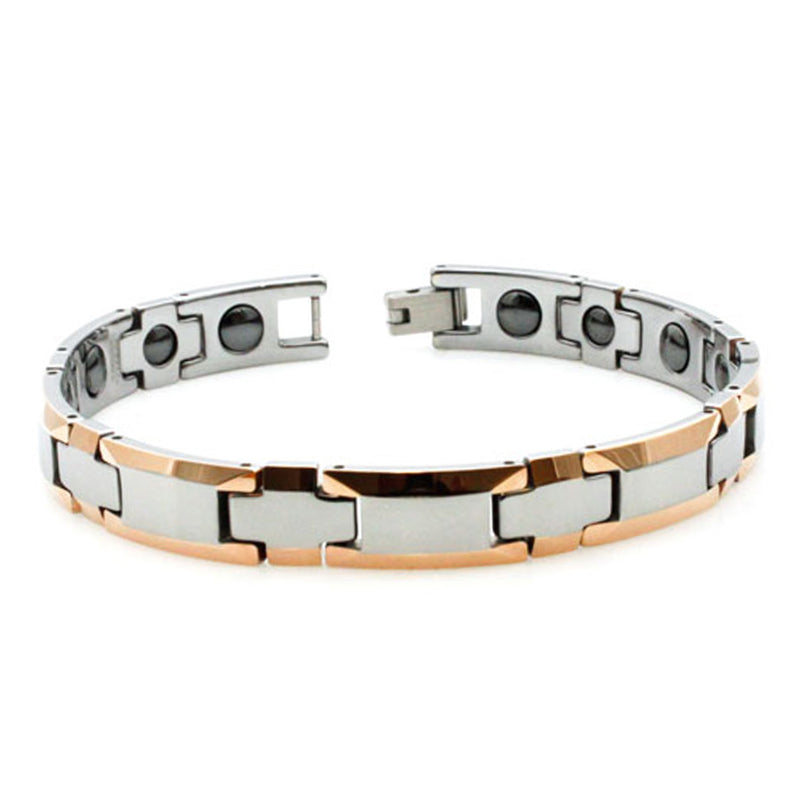 Two-Tone Tungsten Carbide Beveled Edge Magnetic Insert Link Bracelet - Tioneer