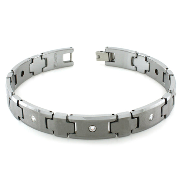 Tungsten Carbide Satin Center Bezel Cubic Zirconia Link Bracelet - Tioneer