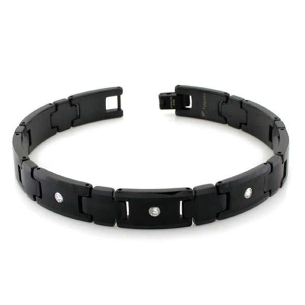 Black Tungsten Carbide Satin Center Bezel Cubic Zirconia Link Bracelet - Tioneer