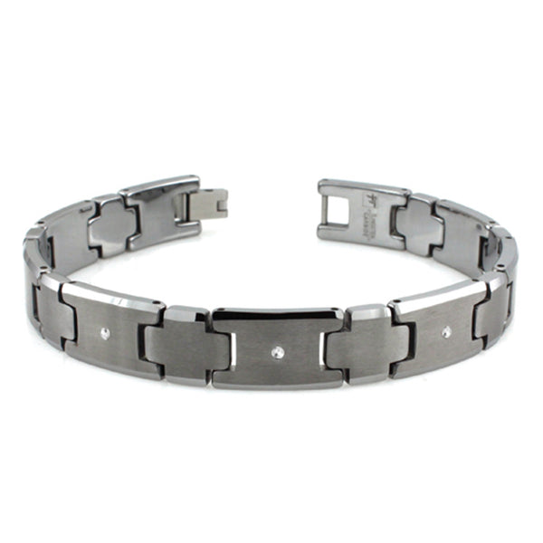 Classic Tungsten Carbide Satin Center 0.03 CTW Diamond Link Bracelet - Tioneer