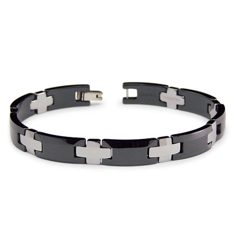 Two-Tone Tungsten Carbide Ceramic Link Bracelet - Tioneer