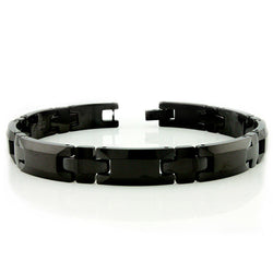 Black Tungsten Carbide Beveled Edge Link Bracelet - Tioneer