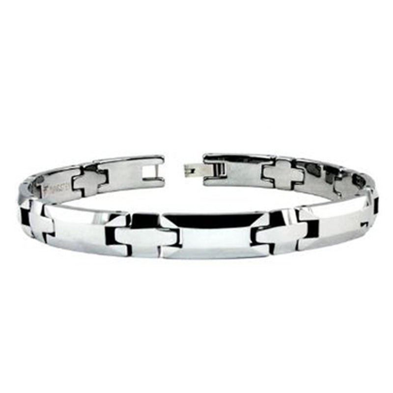 Tungsten Carbide Beveled Edge Link Bracelet - Tioneer