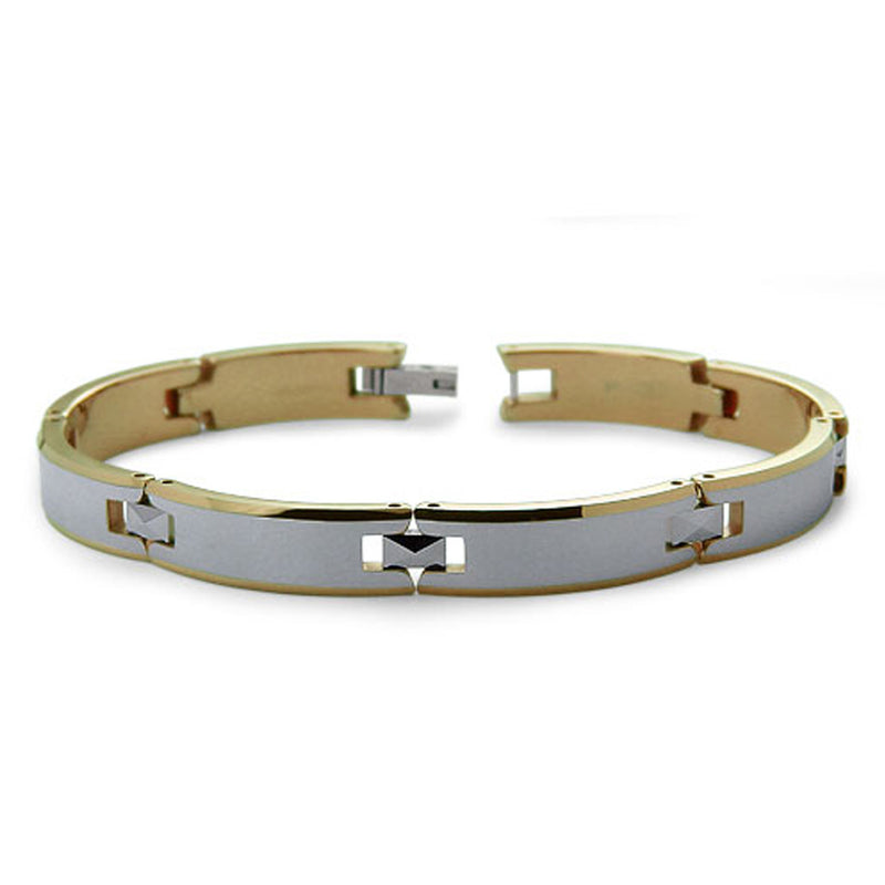 Two-Tone Tungsten Carbide Satin Finish Link Bracelet - Tioneer