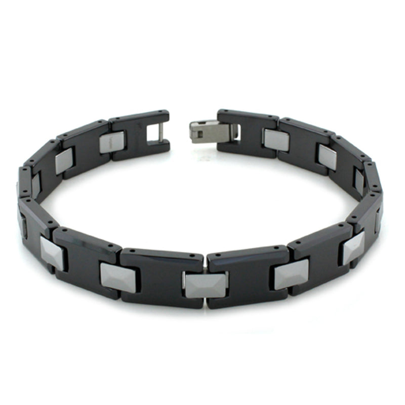 Two-Tone Tungsten Carbide Rectangular Beveled Edge Link Bracelet - Tioneer