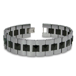 Two-Tone Tungsten Carbide Heavy Weight Gladiator Link Bracelet - Tioneer