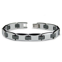 Two-Tone Tungsten Carbide Ceramic Black & Silver Link Bracelet - Tioneer
