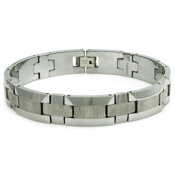 Tungsten Carbide Wood Texture Center Style Link Bracelet - Tioneer