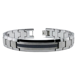 Tungsten Carbide Carbon Fiber Inlay Strip ID Style Link Bracelet - Tioneer