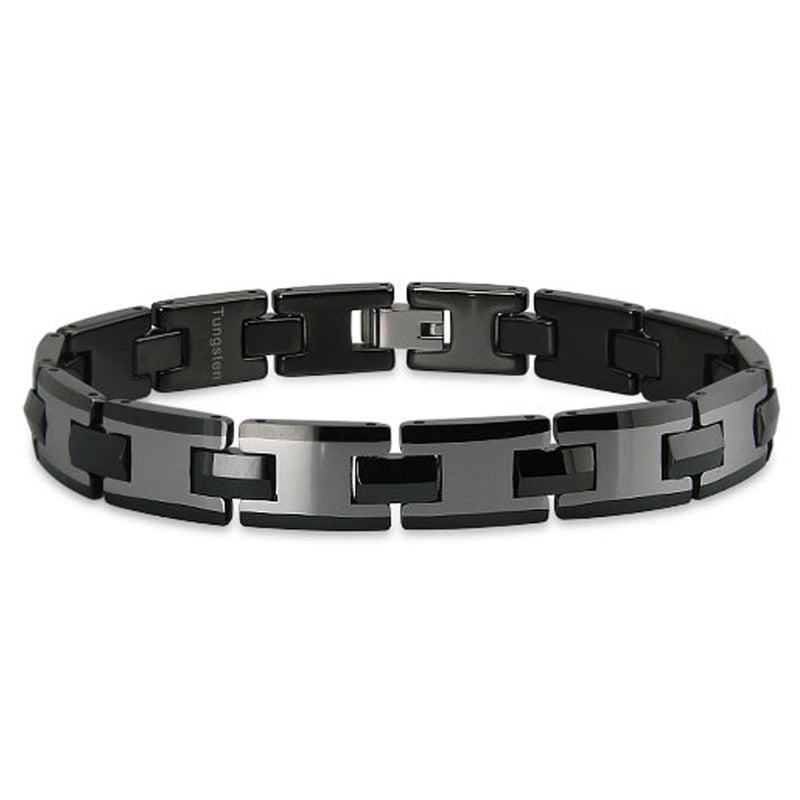Black Tungsten Carbide Gunmetal Center Link Bracelet - Tioneer