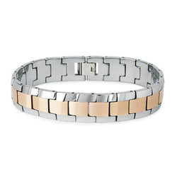 Two-Tone Tungsten Carbide Golden Satin Center Link Bracelet - Tioneer