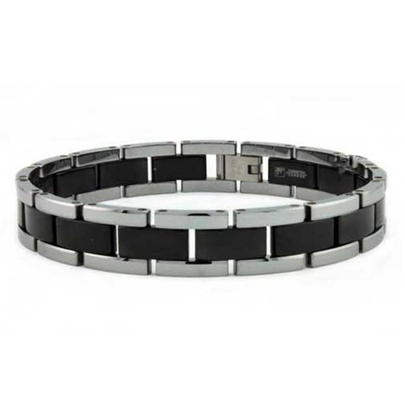 Two-Tone Tungsten Carbide Black Link Bracelet - Tioneer