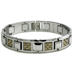 Tungsten Carbide Gold & Silver Carbon Fiber Inlay Link Bracelet - Tioneer