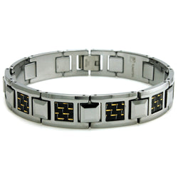 Tungsten Carbide Black & Gold Carbon Fiber Inlay Link Bracelet - Tioneer
