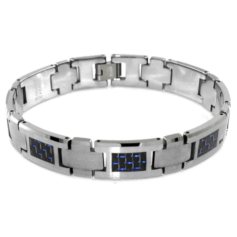 Tungsten Carbide Cross Connector Blue Carbon Fiber Inlay Link Bracelet - Tioneer