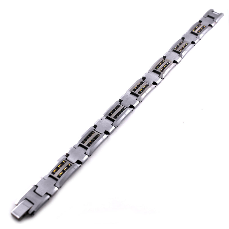Tungsten Carbide Cross Connector Dual Yellow Carbon Fiber Inlay Link Bracelet - Tioneer