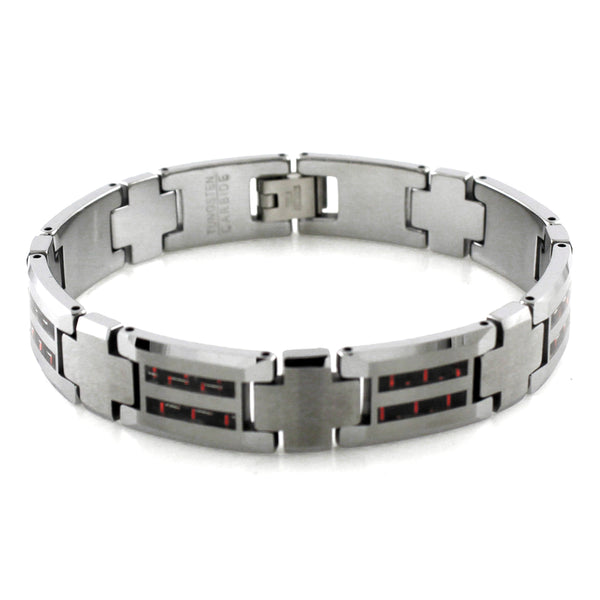 Tungsten Carbide Cross Connector Dual Red Carbon Fiber Inlay Link Bracelet - Tioneer