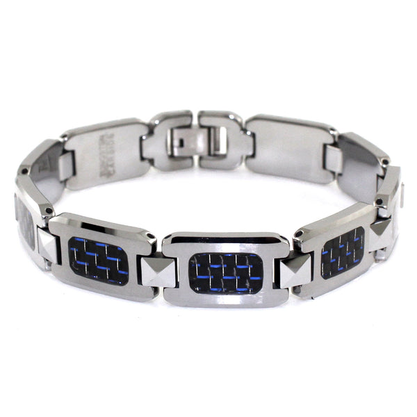 Tungsten Carbide Pyramid Connector Blue Carbon Fiber Inlay Link Bracelet - Tioneer