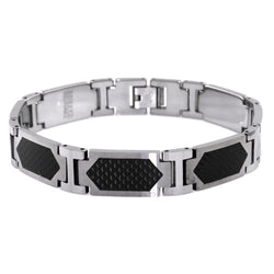 Tungsten Carbide Black Carbon Fiber Inlay Hexagon Link Bracelet - Tioneer
