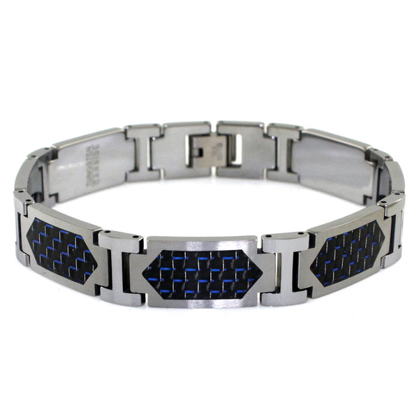 Tungsten Carbide Blue Carbon Fiber Inlay Hexagon Link Bracelet - Tioneer