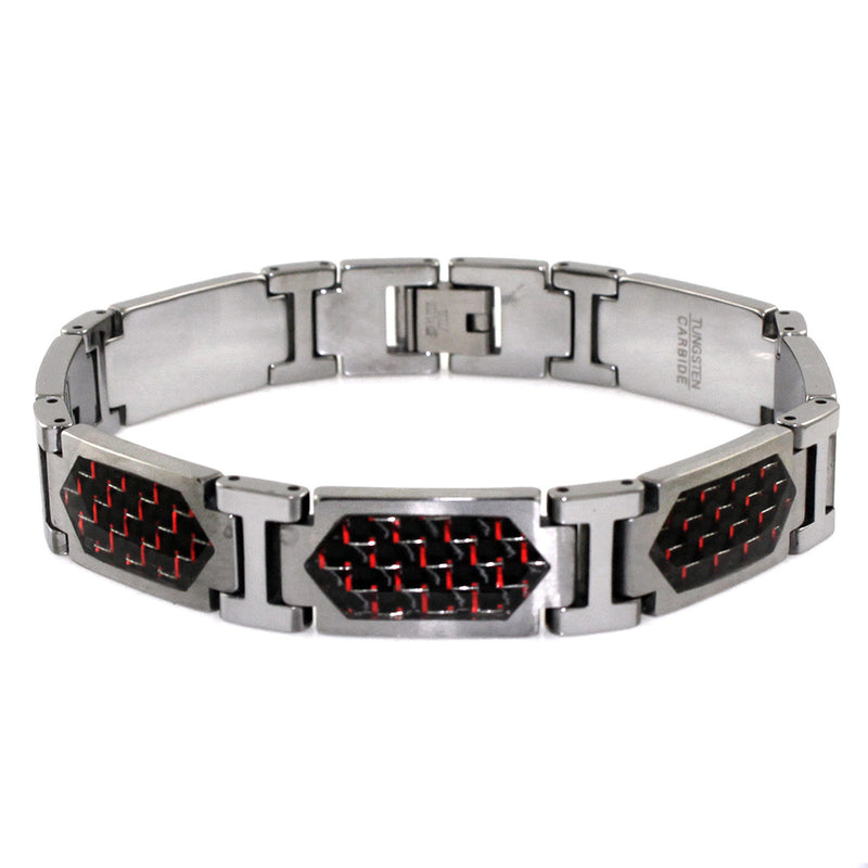 Tungsten Carbide Red Carbon Fiber Inlay Hexagon Link Bracelet - Tioneer