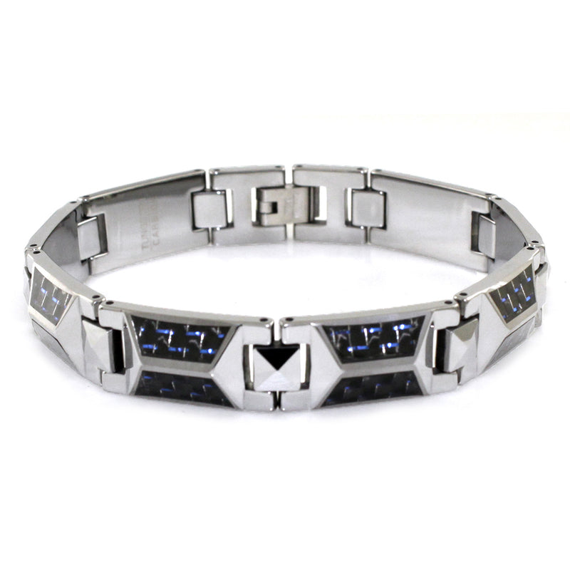Tungsten Carbide Triangle Prism Blue Carbon Fiber Inlay Link Bracelet - Tioneer