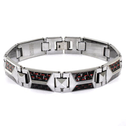 Tungsten Carbide Triangle Prism Red Carbon Fiber Inlay Link Bracelet - Tioneer