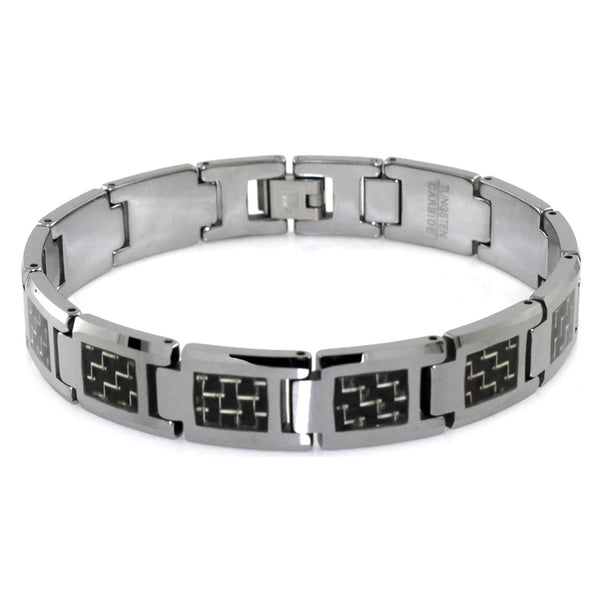 Tungsten Carbide Classic Black/White Carbon Fiber Inlay Link Bracelet - Tioneer