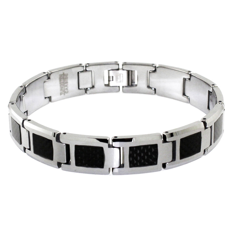 Tungsten Carbide Classic Black Carbon Fiber Inlay Link Bracelet - Tioneer