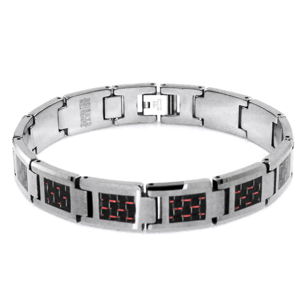 Tungsten Carbide Classic Red Carbon Fiber Inlay Link Bracelet - Tioneer