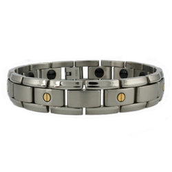 Titanium 14K Gold Screw Accents Link Bracelet - Tioneer
