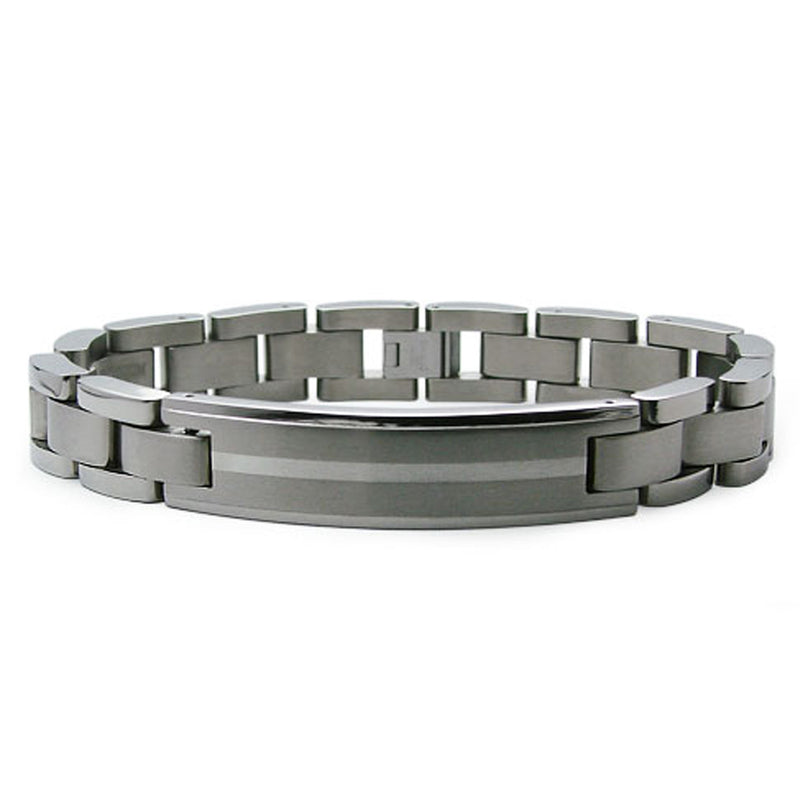 Titanium Silver Center Strip Accent ID Link Bracelet - Tioneer