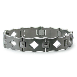 Titanium Diamond Cut-Out Link Bracelet - Tioneer