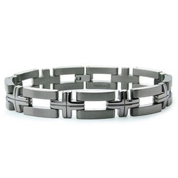 Titanium Open Cut-Out Cross Link Bracelet - Tioneer