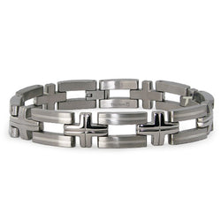 Titanium High Polish Open Cut-Out Cross Link Bracelet - Tioneer